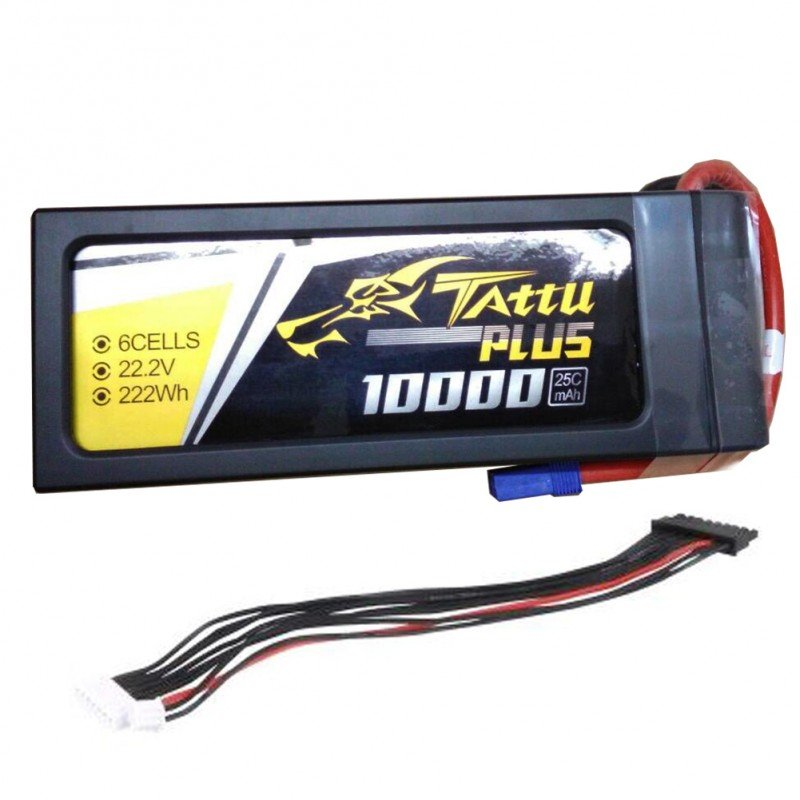 Tattu Plus 22.2V 25C 10000mAh 6S Lipo Smart Battery Pack with EC5 Plug (new version)